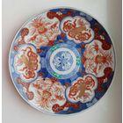 Тарелка большая (блюдо). Фарфор. Начало 19 века.Ручная работа.Имари. Японские золотые львы. Дзиси.