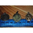 Кулоны/медальоны, - (католические) - с разными культовыми образами и надписями на две стороны - 3шт.