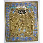 Медно-литая икона в эмалях Седмица XIX В35