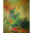 Абстрактная живопись старая Европа 53х67 подписная 1963 год масло,холст рама дерево