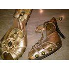 Золотые туфельки  .натур кожа