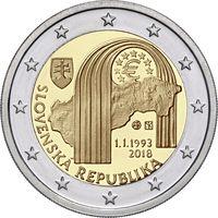 2 евро Словакия 2018 550-лети25 лет Республике UNC из ролла