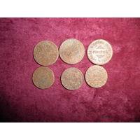Полковые деньги(жетоны) Ивенец 20 грошей-3 шт,10 грошей-3 шт.