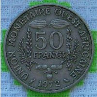 Западная Африка 50 франков 1972 года. Cu-Ni. Бенин, Буркина-Фасо, Гвинея-Бисау, Кот-д'Ивуар, Мали, Нигер, Сенегал, Того. Инвестируй в коллекционирование!