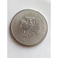 Остров Мэн 1 крона 1976  100 лет конной железной дороге