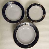 Набор тарелок Барановка кобальт 60-70-е годы (три вида по 6 штук)