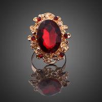 Кольцо женское с красными камнями, безразмерное. бижутерия. распродажа