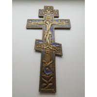 Старинный крест 19 век с эмалью
