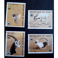 Нигер 1985 г. Антилопы. WWF. Охрана природы. Фауна, полная серия из 4 марок #0176-Ф1