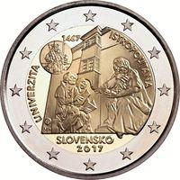 2 евро Словакия 2017 550-летие Истрополитанского Университета UNC из ролла