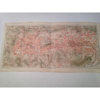 Карта Elberfeld-Barmen   конец 19 века.  47.5х24.5см.