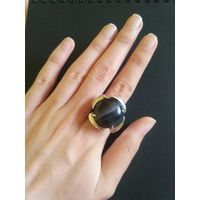 Кольцо камень чёрным ониксом
