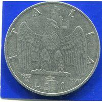 Италия 1 лира 1939 , не мангитная