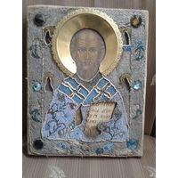 Икона Николай Чудотворец.  Бисер.
