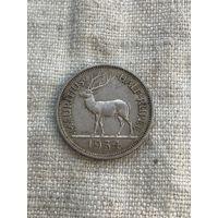 Маврикий 1/2 рупии 1934 г.