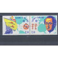 [413] Финляндия 1992.Европа.EUROPA.Парусник.Колумб.