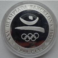 Испания 2000 песет 1992 года. Олимпиада 1992. Олимпийские символы. Тираж 130993 шт. Серебро 26,7 грамма 925 проба. Краузе KM# 859. Пруф. Состояние!
