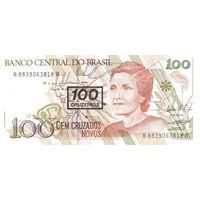 Бразилия 100 крузеиро(надпечатка) образца 1990 года UNC p224b