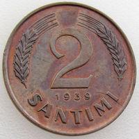 Латвия, 2 сантима 1939 года, KM#11.2