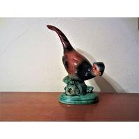 Старинная довоенная немецкая фарворовая статуэтка: фазан.В тесте но ер с латинской буквой G.