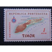 Португальская колония Тимор 1960 г. Карта.