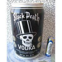 Банка стальная от водки Black Death, Чёрная смерть .