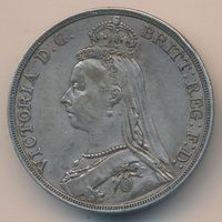 1 крона Великобритания  1889 Королева Виктория Серебро 0,925 СОСТОЯНИЕ!!!