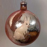 Шар с зайцем и елкой толстое стекло елочная игрушка СССР