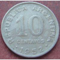 5117: 10 сентаво 1952 Аргентина КМ# 47 медно-никелевый сплав