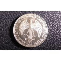 5 марок 1969 F. Германия. 375 лет со дня смерти Герхарда Меркатора. Серебро 0.625. Тираж 4.804.000. Хорошая!