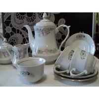 Кофейный сервиз,Wloclawek porcelana Польша на 5 персон ,лот 4