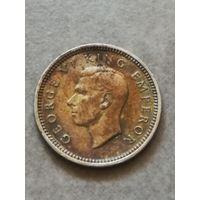 Новая Зеландия 3 Пенса 1937г серебро