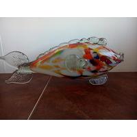 Рыбка стеклянная,художественное стекло СССР,ручная работа,длина 31см