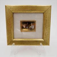 Винтажная миниатюра 1 Италия ORO FOGLIA - хромолитография, стекло, золото, 12 х 11 см