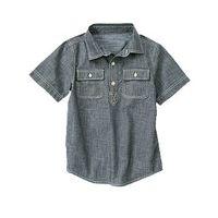 Cерая рубашка с коротким рукавом, S (5-6 лет).l