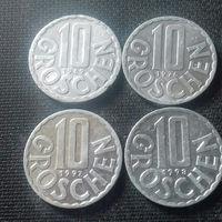 10 грошей, Австрия 1969, 1976, 1997, 1998 г.