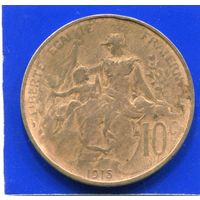 Франция 10 сантимов 1915