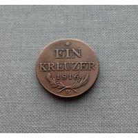 Австрийская империя, 1 крейцер 1816 г., В