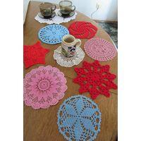 Салфетки разноцветные ажурные,8шт, 15см, handmade.