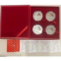 "ТОРГ!!! Комплект серебряных монет ""Три мушкетера"", ""анциркулейтед"",2009 год."