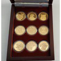 Футляр на 9 монет 30 mm 50 рублей золотых, деревянный