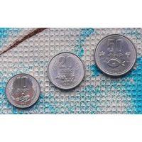 Лаос набор монет  10, 20, 50 атов 1980 года. UNC. Рыба, пашня, сбор урожая.