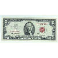 США, 2 доллара 1963 год, aUNC.