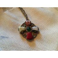 Кулон Кельтский крест Серебрение клеймо Jem 60-70-е гг