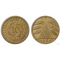 YS: Германия, 10 рентенпфеннигов 1924J, KM# 33 (1)