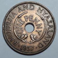 1 пенни 1957 г родезия и ньясаленда