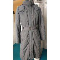 Пальто женское серо-сиреневое Sela из плащёвки утеплённое б/у демисезон/зима 42-44 р-р