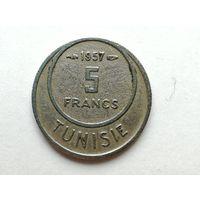 5 франков 1957 года. Африка, Тунис. Монета А2-3-1