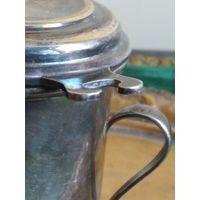 Стакан кружка ситечко для заваривания чая с крышкой латунь/бронза посеребрение клеймо старая работа