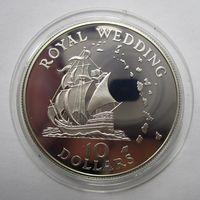 Восточные Карибские штаты. 10 долларов 1981 серебро, нечастая  .12Е-20